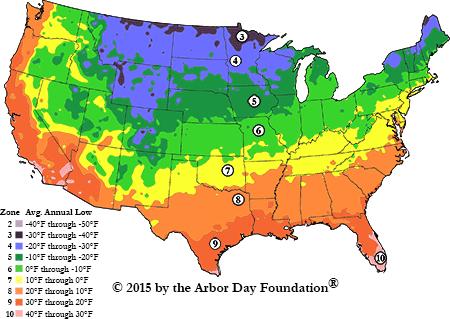 Kartuz Greenhouses USDA Zones Map